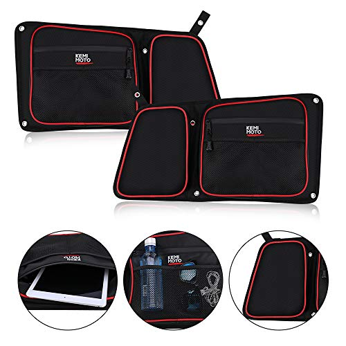 Rear Door Bags for Polaris RZR, KEMIMOTO Wear Resistant 1680D Side Storage Bag Set with Red Piping and Knee Pad Compatible with 2014-2019 Polaris RZR 4 900, XP4 1000, 4 Door Turbo