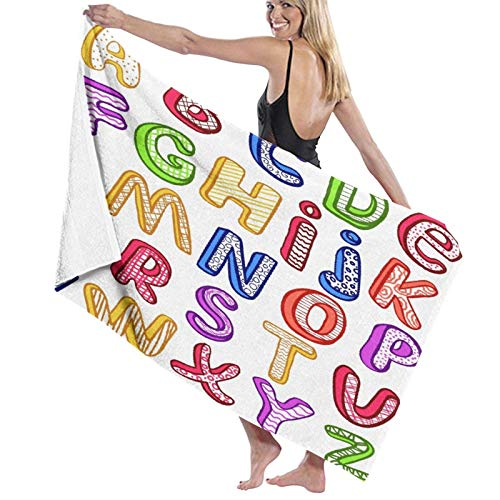 XINGAKA Toallas de baño,de playa,Dibujado a mano coloridas letras ABC de estilo 3D con patrones para niños Diversión alegre,Muy absorbente y suave para yoga, fitness, camping y deportes al aire libre.
