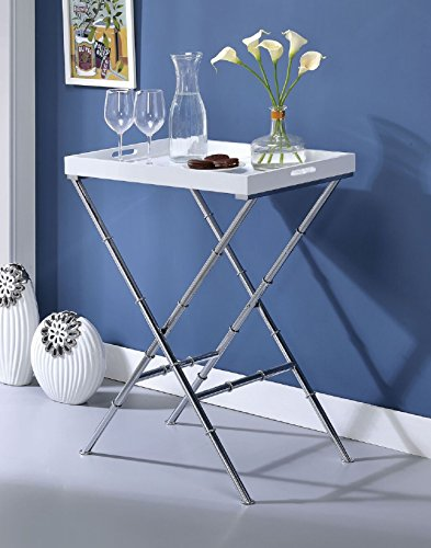 "Major-Q 31"" H Modern White and Chrome Metal Base Breakfast Tray Side Table"