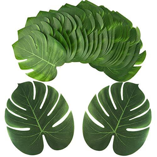 grandes de 33 cm de largo para decoración de fiestas, plantas artificiales, palmas tropicales, hojas de monstera, hojas de simulación para fiestas hawaianas de safari, luau, suministros de fiesta