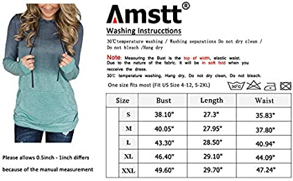 Amstt Womens Casual Hoodies Tops Long Sleeve Drawstring Pullover Sweatshirts Tops with Pocket
