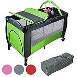 Monsieur Bébé ® Lit parapluie 60 cm x 120 cm + matelas + table à langer + jouets + hamac - Vert - Norme NF EN716-1+A1
