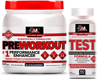 Advanced Molecular Labs - Pre-Workout Powder and Test Capsules Bundle, Enhance Performance & Naturally Support Free Testos...
