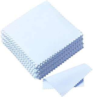 Pengxiaomei 50 Pack Jewelry Cleaning Cloth, Polishing Cloth for Sterling Silver Gold Platinum (Blue)