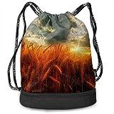 Drawstring Backpacks Bags Wheat Sunset Sports Gym Sackpack Tote Travel Rucksack