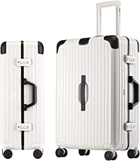 SMLCTY Hand Luggage Suitcases,ABS+PC Frame Waterproof Large Capacity Silent 4 Wheel Universal Wheel Trolley Case Password Boarding (Color : White, Size : 29 inch)