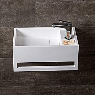Weibath Rectangle Wall-Hung Bathroom Sink with Towel Bar Stone Resin Bathroom Ramped Sink Solid Surface (Matte White)