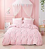 Jumeey Pink Llama Bedding Full Size Alpaca Duvet Cover Queen Cotton for Girls Teens Llama Duvet Covers Pink Kids Cute Cactus Lamb Boys Cartoon Animal Pattern Duvet Cover Full (3PCS, Queen)