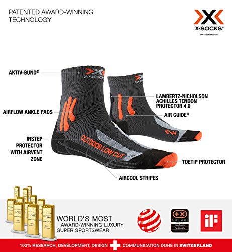 X-Socks Trek Outdoor Low Cut Men Socks, Calze Calza Calzini Uomo, Anthracite/Orange, 42/44