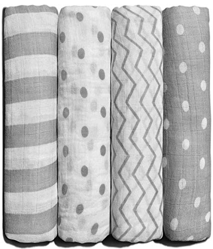 CuddleBug Muslin Baby Swaddle Blankets for Boys and Girls 0 to 3 Months Size Large 4 Feet x 4 Feet – Muslin Cotton Baby Blankets - 4 Pack (Spots n' Stripes)