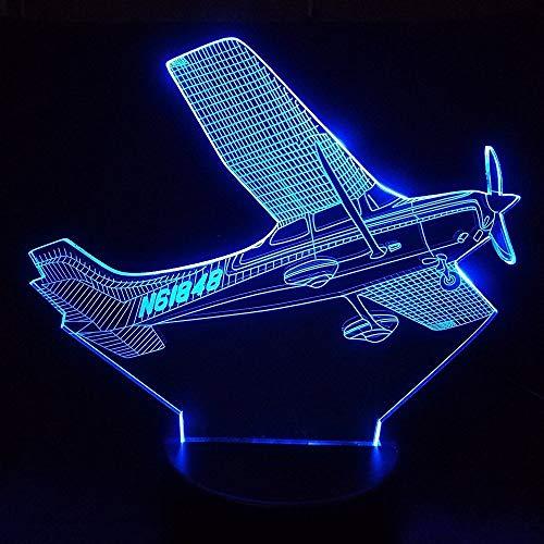 Lámpara de avión con ilusión óptica 3D, 7 colores, interruptor táctil, ilusión, luz nocturna, para dormitorio, hogar, decoración, boda, cumpleaños, Navidad, regalo de San Valentín