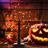 Luces de árbol de Halloween de 40 cm con 24 Luces Naranjas Luces de árbol Negras de Mesa con Pilas para decoración de Halloween Decoración de Interior para el hogar y Vacaciones