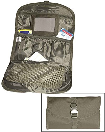 Mil-Tec British Military - Faltbare Tasche für Toiletten-Artikel mit Haken und Spiegel, Farbe: Olivgrün