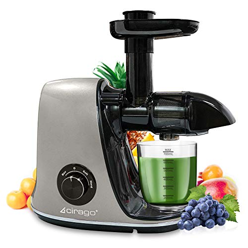 CIRAGO Juicer Machines, Slow Masticating Juicer Extractor Two Speed Adjustment, Easy to Clean, Quiet Motor, Cold Press Juicer for Vegetables and Fruits, BPA-Free (Grey)