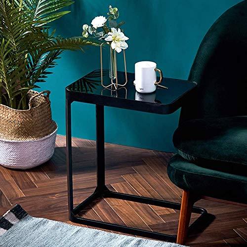 Leuke tv-staande lamp telefoon tafel sofa bijzettafel eiken tafel ijzer kunst creatieve mode glas bijzettafel woonkamer sofa kant ruimtebesparende salontafel nachtkastje computer bureau hoektisc zwart