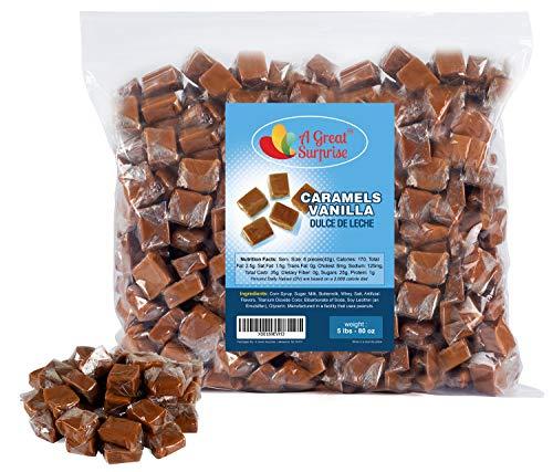 Caramel Candy - Bulk Caramel Squares - Caramels Vanilla Dulce De Leche - Brown Candy - 5 LB Bulk Candy