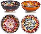 Ciotole in ceramica Set di 2 ciotole carine per cereali da colazione, riso, zuppa di porridge, insalata, tagliatelle, dessert, frullato - Decorazioni per la casa Marocchino spagnolo Mandala turco