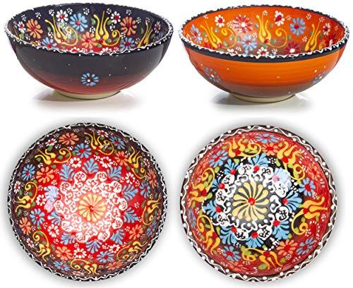 Juego de 2 cuencos de cerámica para cereales de desayuno arroz sopa de avena ensalada fideos postre batido decoración colorida para hogar marroquí japonés español turco Mandala novedosos cuencos
