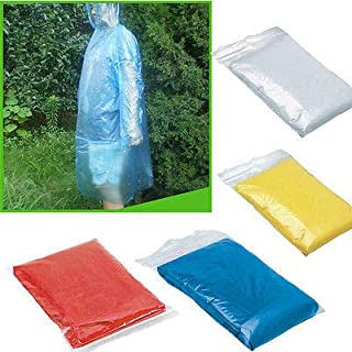 Flurries ☔ Disposable Emergency Transparent Hooded Raincoat - Waterproof Poncho Rainwear Jacket Cape with Hoods and Sleeves - for Events Bad Weather Outdoor Women Men Adults