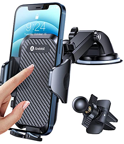 Andobil Car Phone Mount Easy Clamp, [Super Suction & Durable] Universal Dashboard Air Vent Windshield Hands-Free Phone Holder for Car Compatible with iPhone 12 11 SE XR 8 Galaxy S21 All Phones