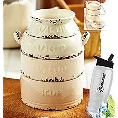 Gift Included- Rustic Farmhouse Kitchen Milk Can Measuring Cups Stackable Set + FREE Bonus Water Bottle by Homecricket
