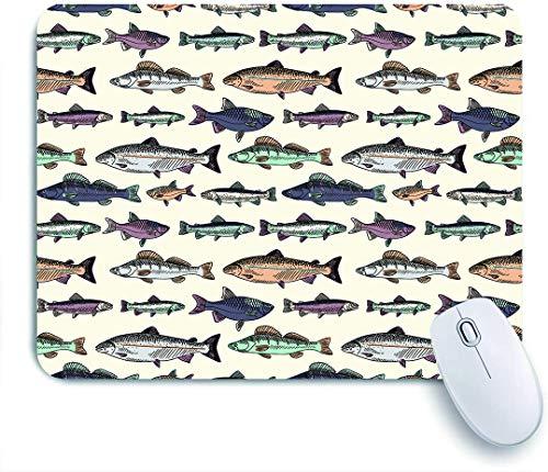 SUHOM Gaming Mouse Pad Rutschfeste Gummibasis,Blauer Fisch mit Weinlesefischen, die Lachsforellenfischen gezeichneten Karpfen-Cartoon zeichnen,für Computer Laptop Office Desk,240 x 200mm