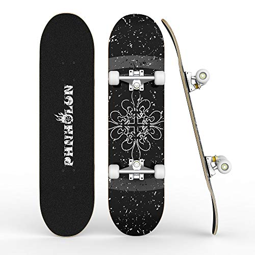 PHNHOLUN Skateboards for Beginners, 31 x 8 Inch Complete Skateboard with ABEC-7 Bearings and 95A Wheel, 8 Layer Hard Maple Deck for Teenagers and Adults, Double Kick Deck Concave Cruiser Trick Skull