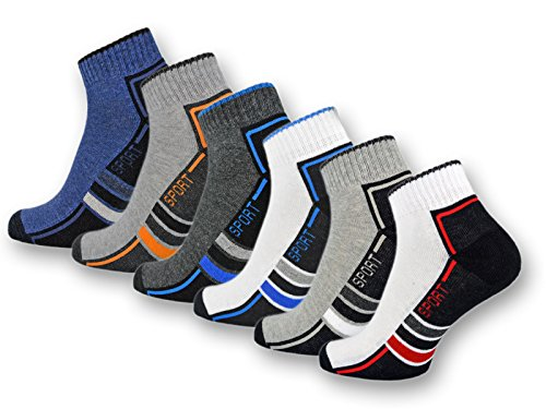 sockenkauf24 6 oder 12 Paar SPORT Sneaker Socken mit Frotteesohle verstärkt Herrensocken Sportsocken - 16215/20 (39-42, 6 Paar | Farbmix)