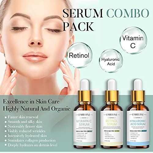 51v3k+Z0U3L. SL500  - Emieline Anti Aging Serum, Vitamin C Serum, Retinol Serum, Hyaluronic Acid Serum, Face Serum Set Natural Organic with Apply to Brightening, Anti Wrinkle, Dark Spot Corrector for Face, Moisturizing