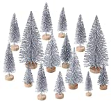 60 Pezzi Mini Albero di Natale Artificiale Natale Sisal Neve Alberi Bottiglia Pennello Alberi Pino Ornamenti con Base in Legno per Natale Festa Casa Decorazione (Argento, 4 Taglie)