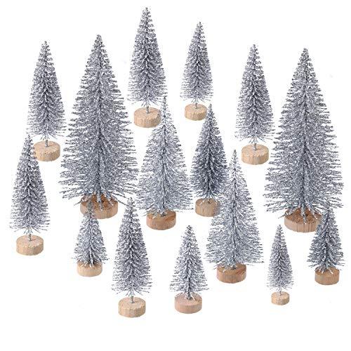 60 Pezzi Mini Albero di Natale Artificiale Natale Sisal Neve Alberi Bottiglia Pennello Alberi Pino Ornamenti con Base in Legno per Natale Festa Casa Decorazione