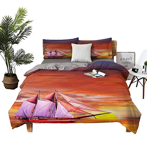 DRAGON VINES 4pcs Bedding Set Cotton Bed Sheets Queen Hotel Luxury Bed Sheets Traditional Filipino trimarans sail Around The Island of Boracay at Sunset Black White Sheets W104 xL90