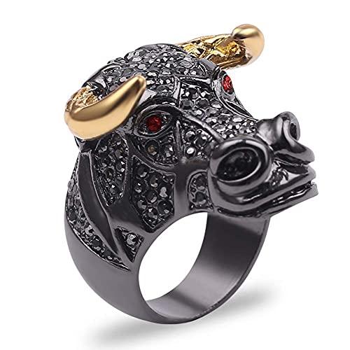 Anillo de motociclista con cabeza de tauro acero inoxidable para hombre, anillos de animales con diamantes unisex con diseño tauro, hip hop y rock, personaliza los regalos cumpleaños Navidad