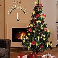 Decorare l'albero di Natale con semplicità: 15 candele wireless a LED con clip di fissaggio e telecomando. Con piedistallo a forma di stella e ventosa per posizionarle su davanzali, vetri e altro. Pratica funzione timer di 4 ore. Candele LED con 2 mo...