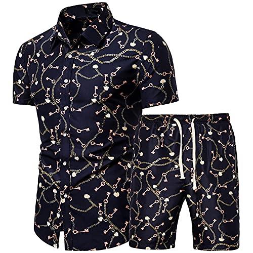 YANFANG Conjuntos De CháNdales para Hombre Joggers Deporte Ocasionales Bottoms,Conjunto Pantalones Cortos Y Camisas Manga Corta con Estampado Playa Piezas Verano,2-Negro,XL