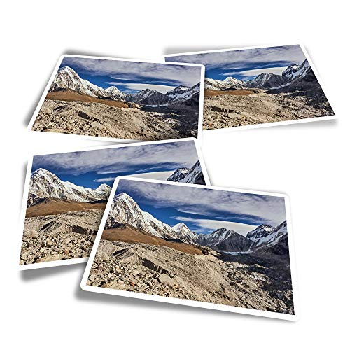 Vinyl Rectangle Stickers (Set of 4) - Mountain Pumori Everest Base Nepal Fun Decals for Laptops,Tablets,Luggage,Scrap Booking,Fridges #45799