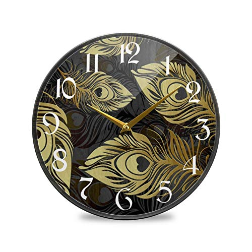 ART VVIES Reloj de Pared Redondo de 12 Pulgadas sin tictac silencioso operado por batería Oficina Cocina Dormitorio decoración del hogar-Plumas de Pavo Real Doradas