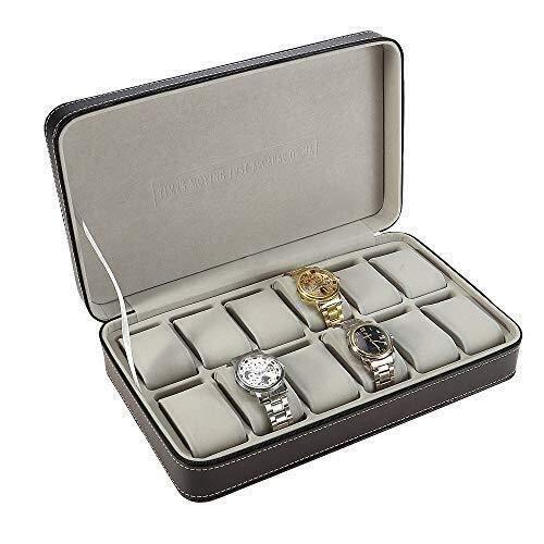 IREANJ Caja de Relojes de Mostrar Cuadro 12 Cabina Portable de la joyería de la Cremallera Recorrido de la Caja del Reloj Caja de Almacenamiento con la Almohadilla Titular