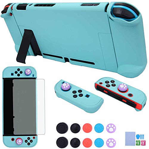 Dockable Case for Nintendo Switch - COMCOOL 3 in 1 Protective Cover Case for Nintendo Switch and Joy-Con Controller with Screen Protector and Thumb Grips - Cyan