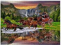 新しいJSCTWCLウェルズファーゴ駅馬車パズル500ピース木製大人のジグソーパズル色子供のための抽象絵画パズル教育玩具ギフト