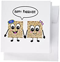 InspirationzStore Judaica – Happy Passover – Cute Smiley Matzah Cartoon – Happy Smiling Matzot for Pesach – ユダヤHoliday Gifts – グリーティングカード Set of 12 Greeting Cards