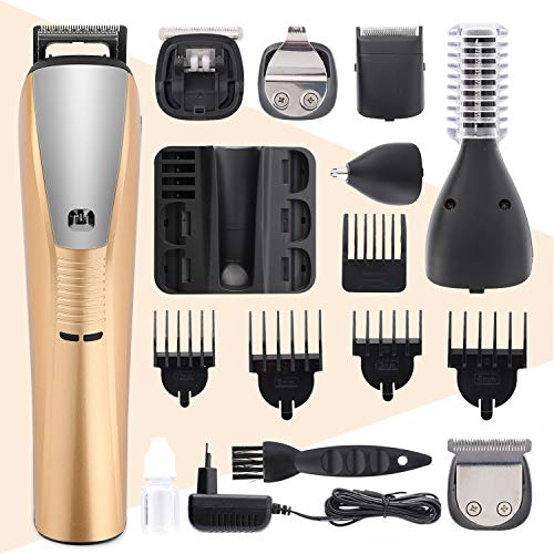 Maquinilla de afeitar eléctrica profesional para hombres, recortadora de pelo y barba seis en uno, peluquería impermeable y recargable con cargador (oro)