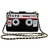 LETODE Women's Elegant Tape Shaped Shoulder Bag Vintage Style Clutch Handbag Acrylic Bag Evening Bag (BLACK)