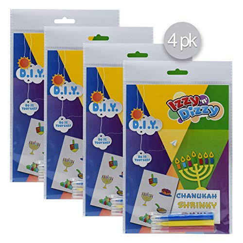 Hanukkah Art Kit - 4 Pack - Includes 8' x 6' Board and 3 Markers (Non-Toxic) - Chanukah Arts and Crafts - Gifts and Games