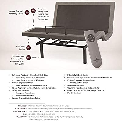 """Split Queen Dual 30"""" X 80"""" Electric Adjustable Bed with 10"""" Memory Foam MATTRESSES with Dual REMOTES / Head and Foot Incline / Ergonomic Positioning"""