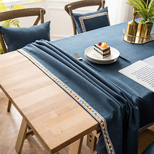 WEIFENG Einfache und Moderne literarische Tischdecke einfarbig Nachahmung Baumwolle Leinen Tischdecke Couchtisch Tischdecke Stoff klein frisch grün wasserdicht Marine 140 * 180
