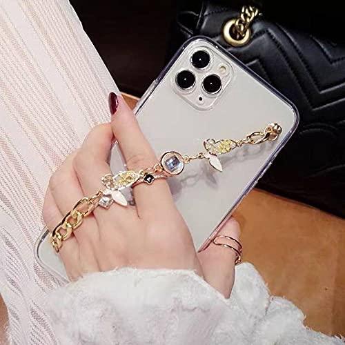 Linda caja del teléfono de la cadena de la pulsera del diamante artificial de la mariposa 3D para el iPhone 12 11PRO X XR XS Max 6S 7 8 Plus Cubierta de lujo clara suave, 1, para el iphone 6 6s