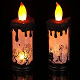 2 Pieces Halloween LED Candles 9 Inch Halloween Flameless Candles Skeleton Ghost Hand Castle LED Candles Light Halloween Scary Zombie Tombstone Decorative Candle for Halloween Party Decor