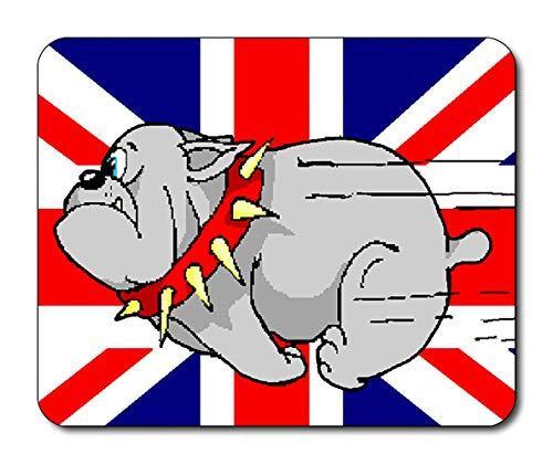 Laufende britische bulldogge union jack cartoon maus matte mauspad / 22x18cm