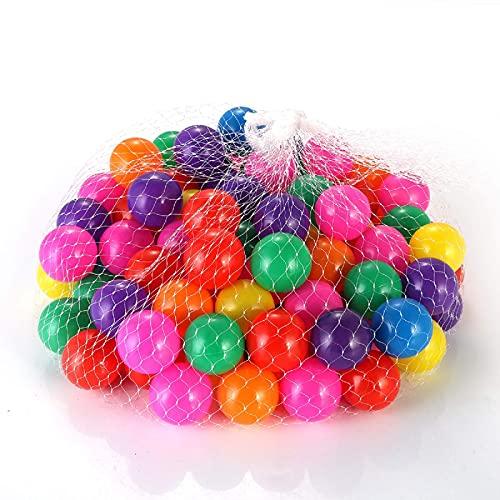 DERCLIVE Juego de 100 bolas de plástico suave y divertidas, para jugar al bebé (4 cm)